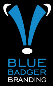 blue badger branding logo