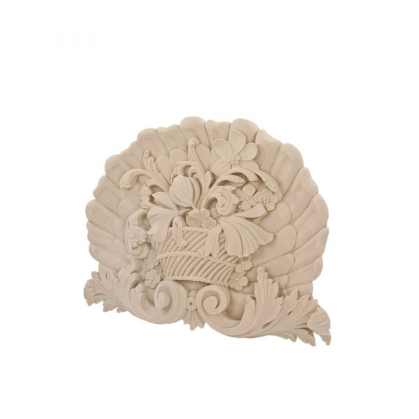 211/D Large Clam Shell & Flower Basket DecWOOD Carved Applique | Decora Mouldings