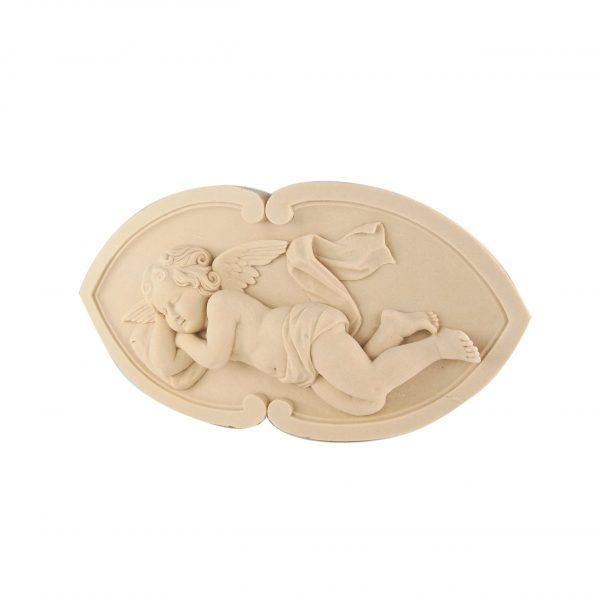 246/D Reclining Cherub Carved DecWOOD Plaque | Decora Mouldings