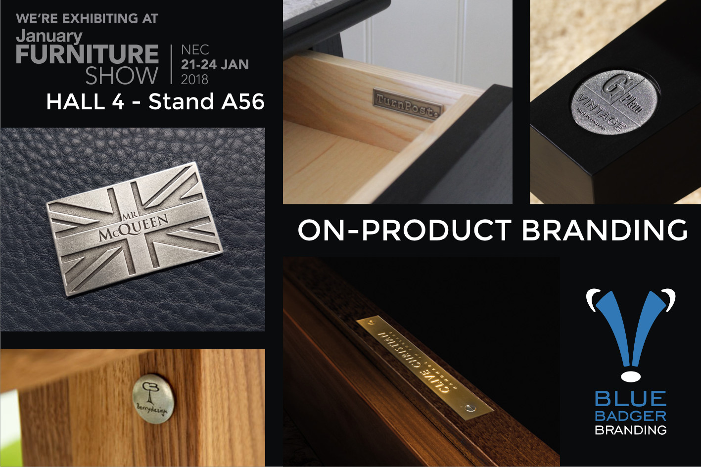 Blue Badger Branding Metal On-Product Branding Badges January Furniture Show 2018