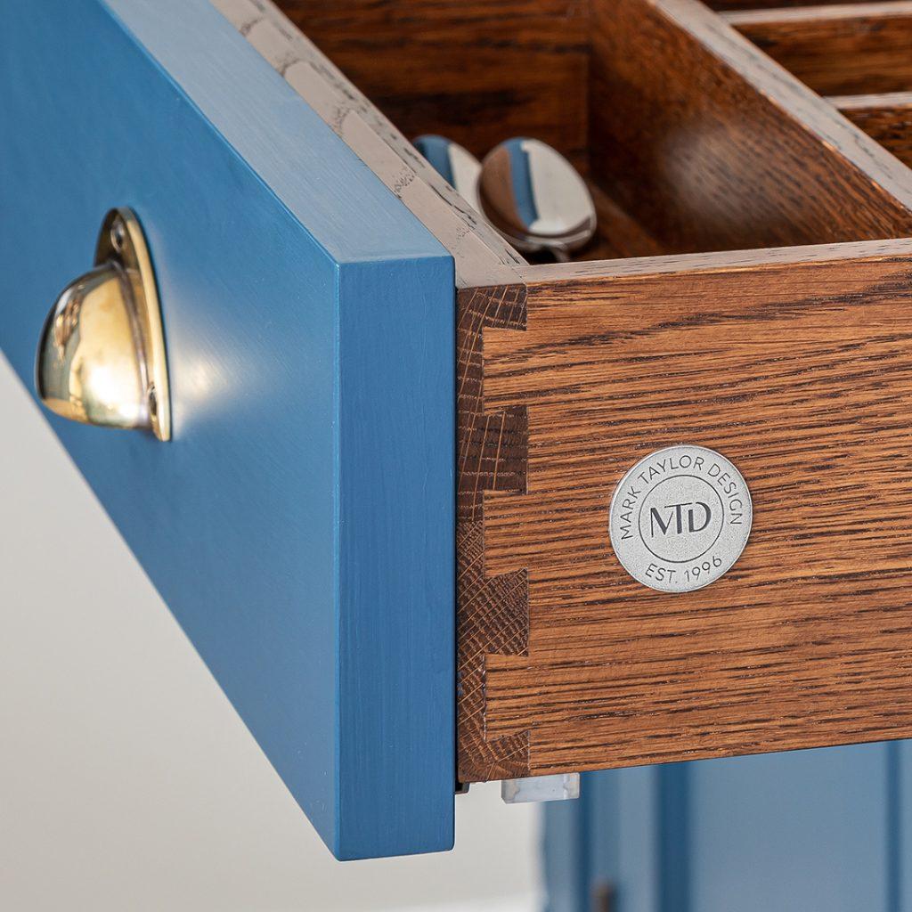 Incised Pewter Badge for Mark Taylor Design - Branded Drawer Boxes - Blue Badger Branding